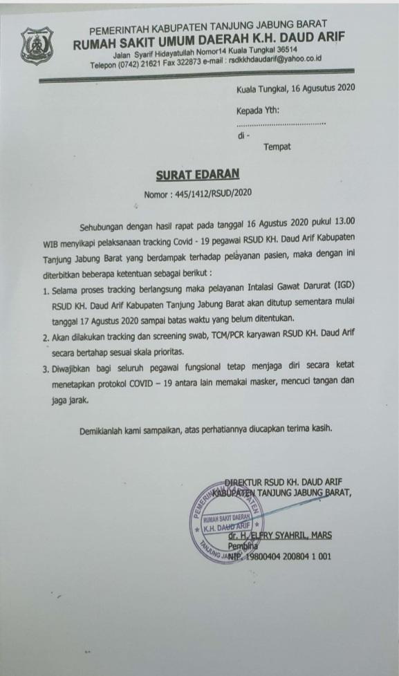 Dua Perawat Positif Covid-19, Pelayanan IGD RSUD Daud Arif Ditutup